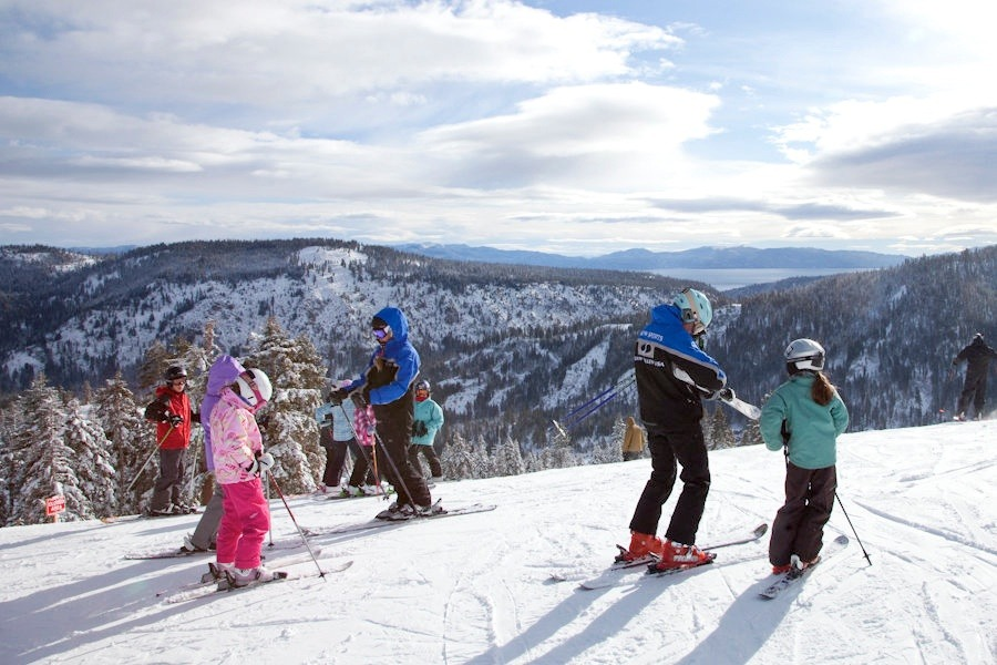 Kids get ready to ski with Squaw Valley ski instructors. Photo by Sasha Coben