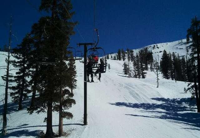 great weather today. spring skiing !!