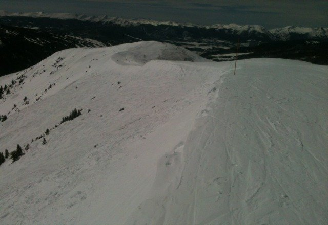 Cornice right above Durance today.  Little warm but great skiing.