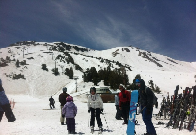 plenty of snow up top. chair 5 was closed for private camp.