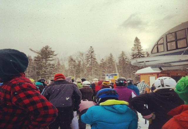 super busy day at Spirit Mtn today, just becuase we got 2inches, nice fluffy snow though! :) (picture - waiting at the bottom of the new spirit express lift, great day! p.s terrain park is in full motion!