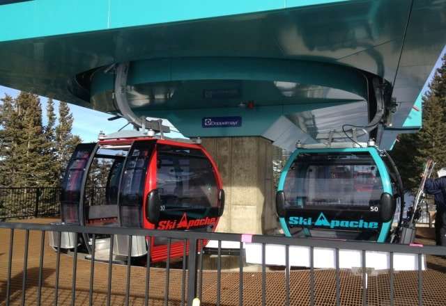 new gondola is really fancy, seats 8 people. feb 2, 2013 at 3:50 pm. snow was great today at ski Apache.