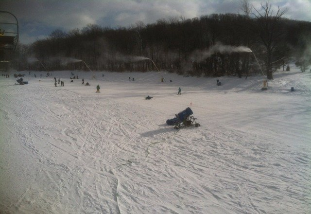 not bad for day 2.  good chance for the little ones to learn how to snowboard.