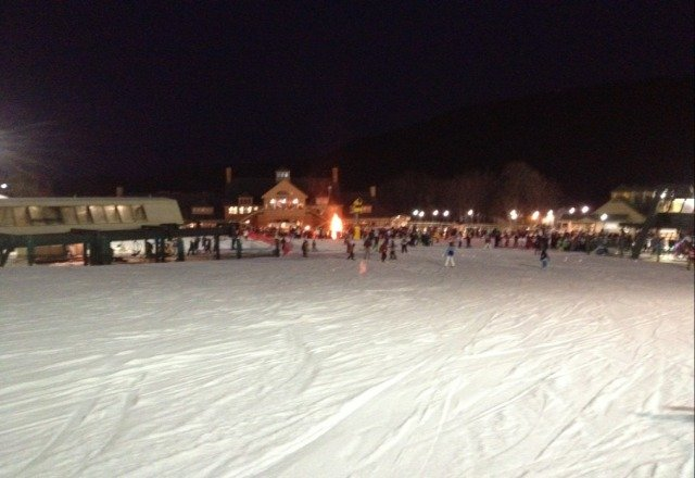 good night skiing great snow dome ice on blacks but fun lots of moguls to fly from. Cool fire and torch parade.