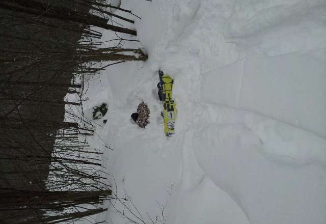 Btw, just ask my son how deep it was. Caught a front edge of too much pow!!!