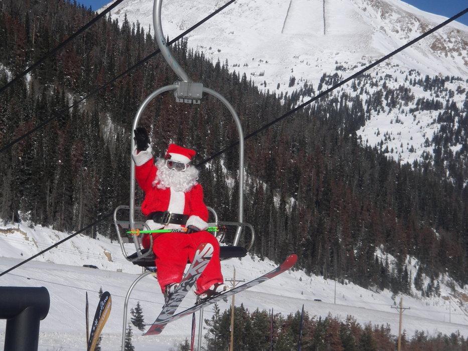 Santa on chairlift in Loveland, CO