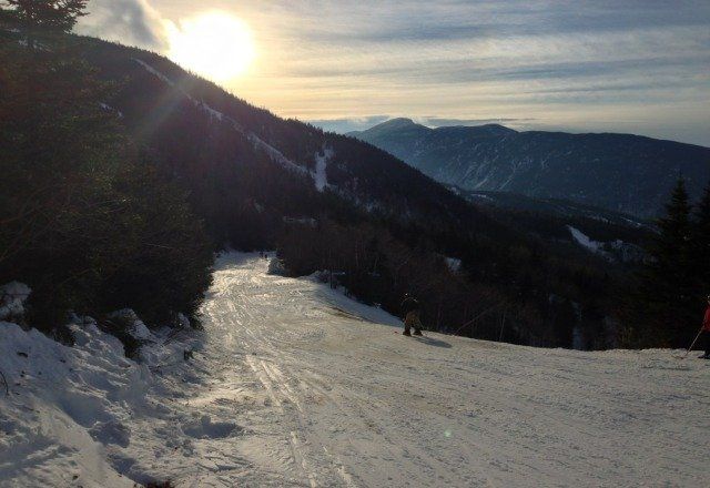 Spring-like conditions today (Jan 12) with concrete/slush and some thin cover. Still an awesome time. Smuggs is real!