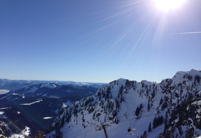 Incredible bluebird day made up for the wet/icy conditions. We had the mountain to ourselves!