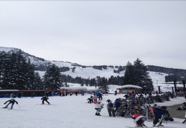 snow is an 8 out of 10, sunshine, no lines, overall good spring skiing!