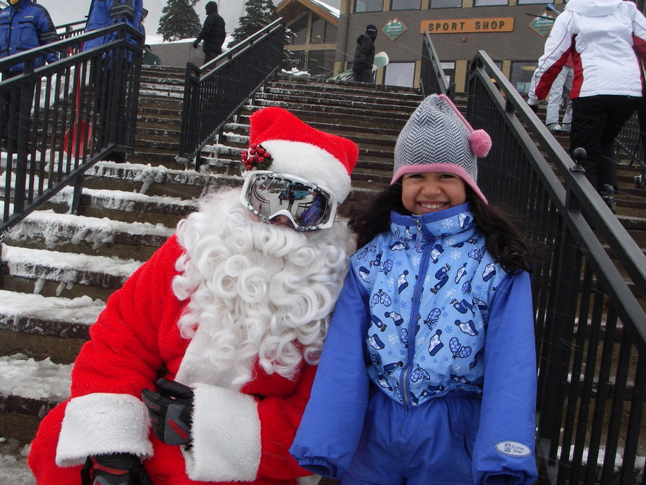 Santa with a young friend at Loveland, CO.
