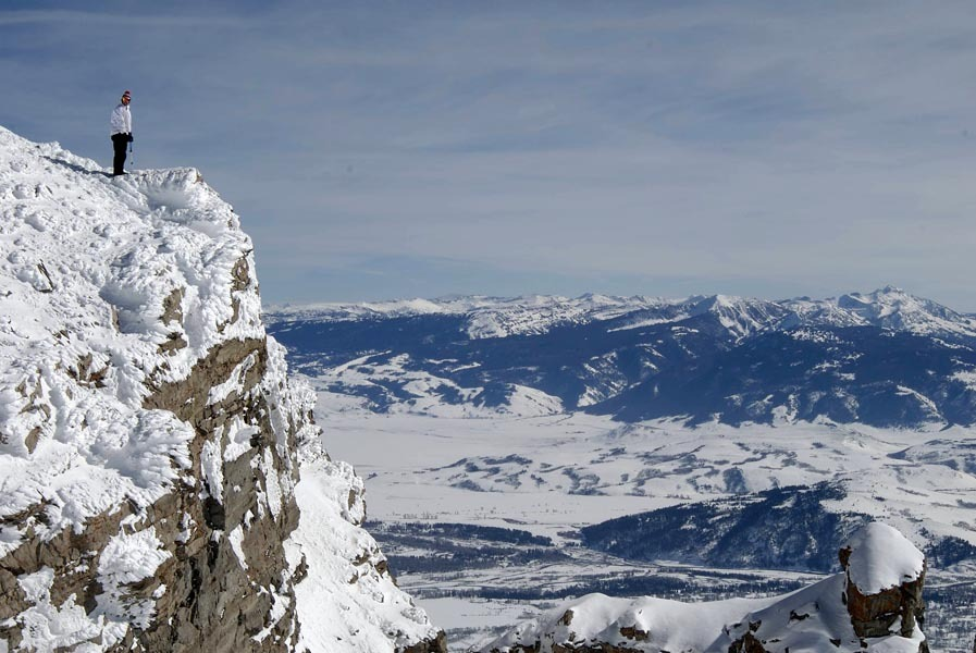 High above the Jackson Hole, Wyoming backcountry.