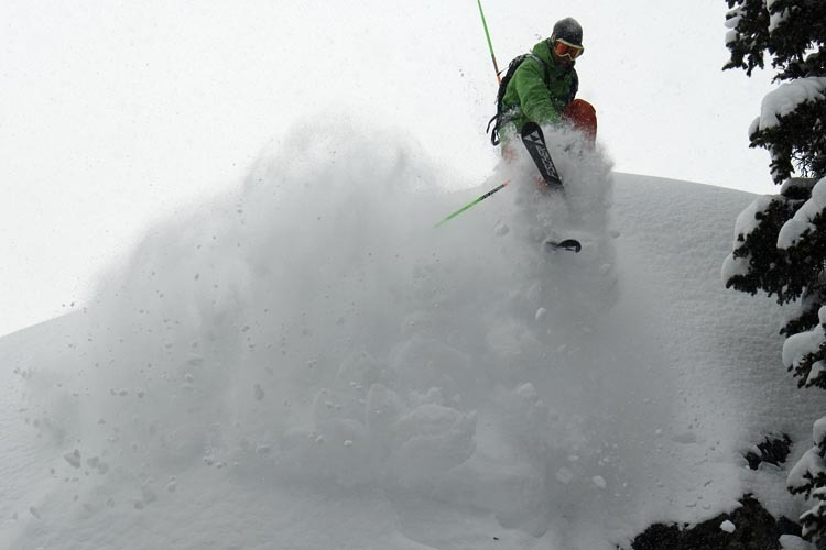 A skier goes for a grab in Jackson Hole, Wyoming