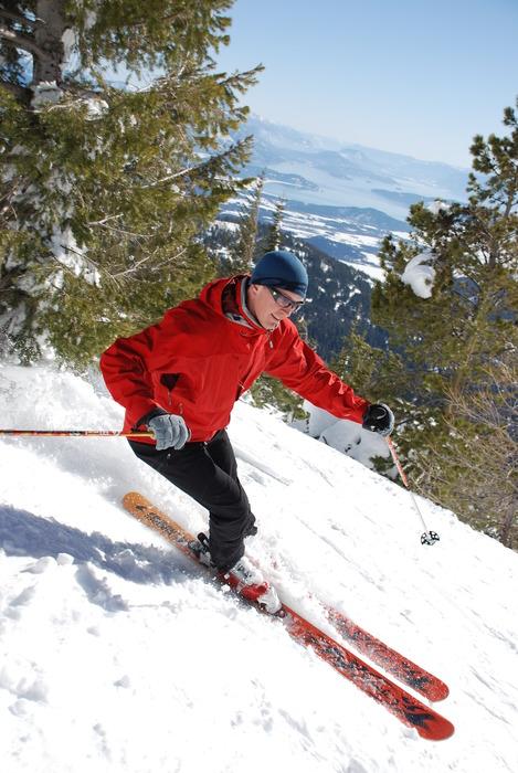 Spring skiing at Schweitzer Mountain, Idaho.