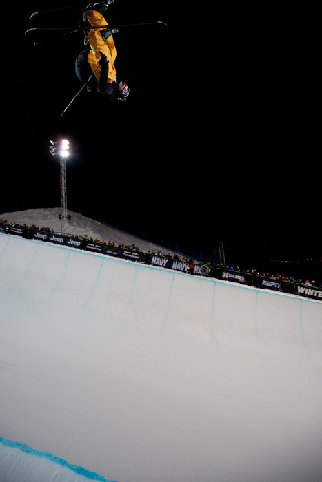 Justin Dorey is in 2nd place after the men's skiing Superpipe eliminations. Photo by Sasha Coben