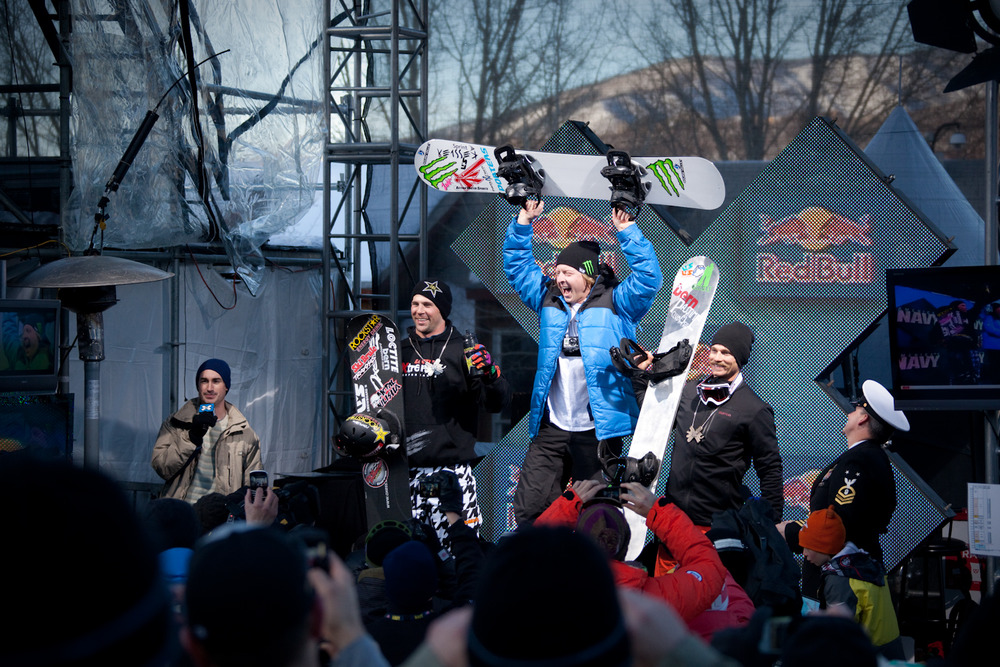 Snowboarder X podium. Photo by Sasha Coben