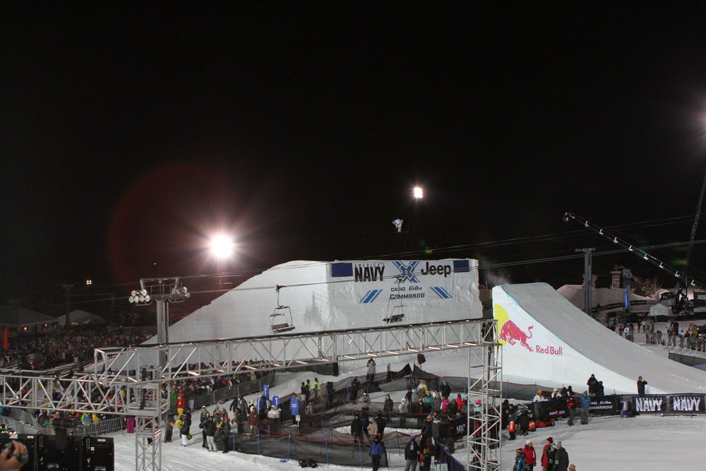 The Big Air competition from the lip of the Superpipe. Photo by Tim Shisler