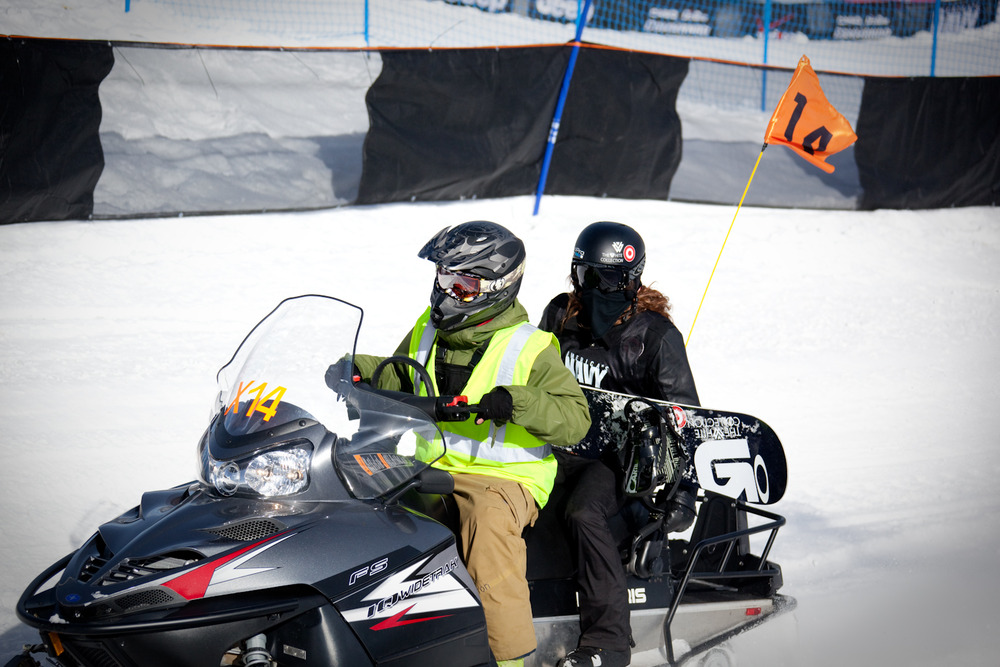 Shaun White getting a ride to the top of the Superpipe during practice. Photo by Sasha Coben