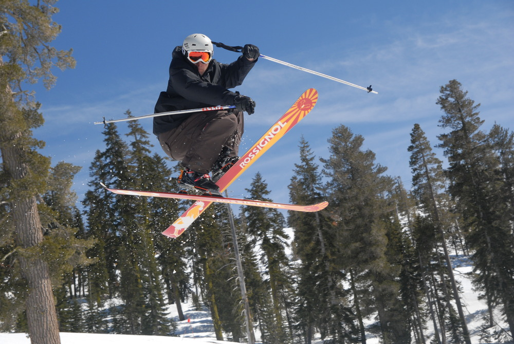 A skier gets air during a run at Sugar Bowl Ski Resort, California