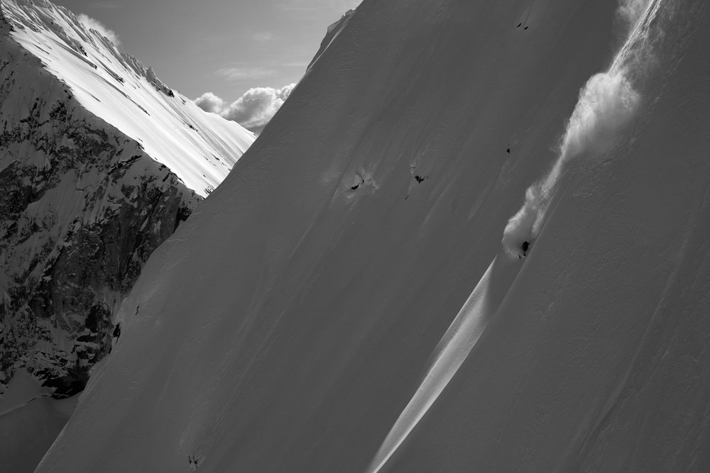 Reggie Crist skiing Whitefang a Haines classic. Photo by Will Wissman