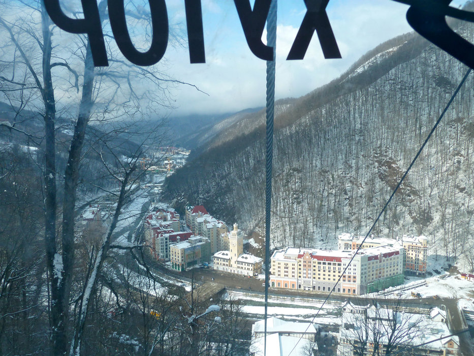 Looking down at Krasnaya Polyana.