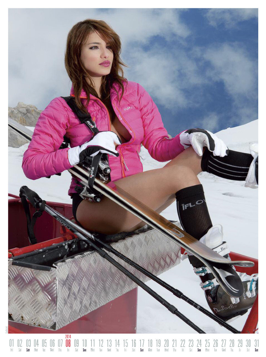 Ms August 2014 - Female Ski Instructor Calendar