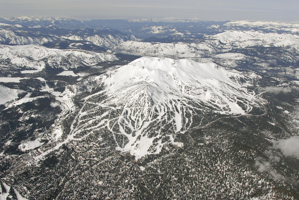 A top view of Mammoth Mountain, California
