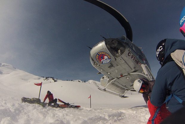 Heli skiers wait for the Heli to take them up to more fresh powder. - ©Brigid Mander