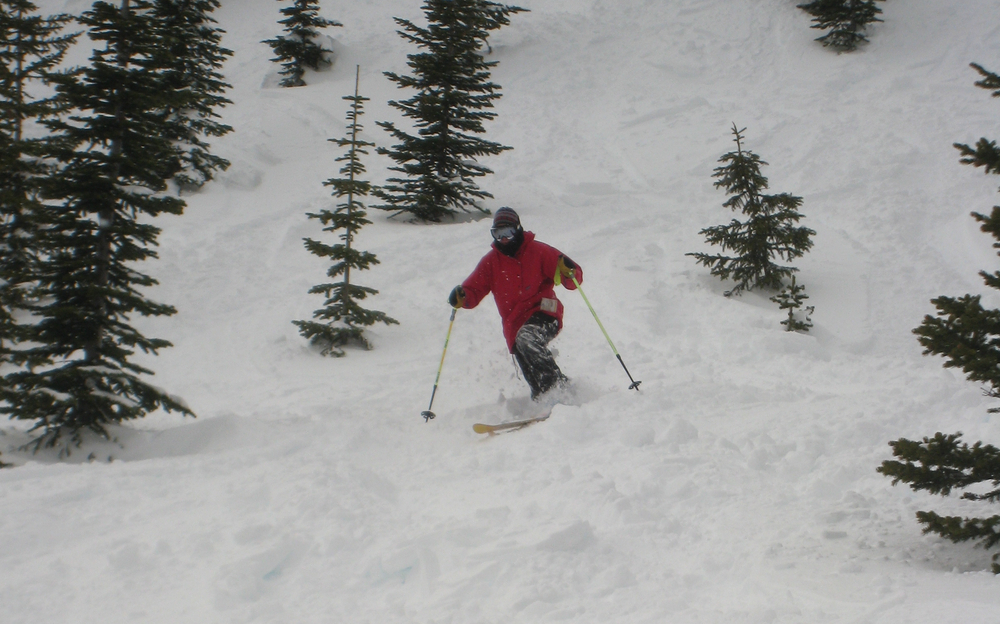 A telemark skier descends Castle Mountain. Photo by Becky Lomax