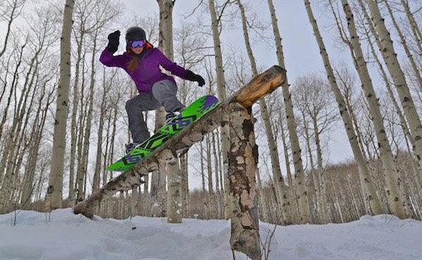 Log sliding at Sunlight Mountain. - ©Bryon Dorr