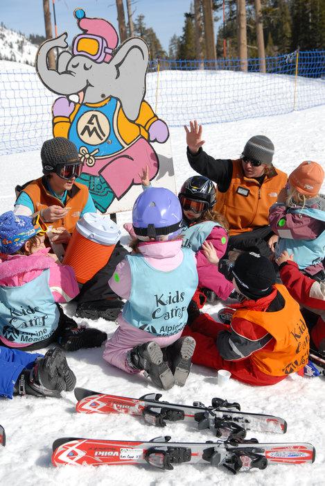 Kids ski school program at Alpine Meadows, California