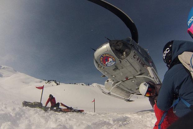 Heli skiers wait for the Heli to take them up to more fresh powder. - ©Brigid Mander