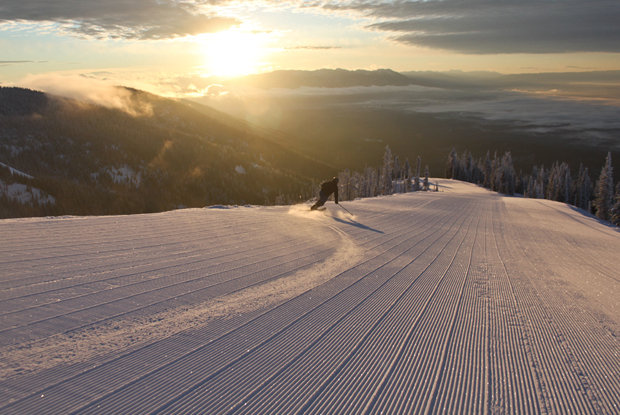 The corduroy on Inspiration attracts early-morning skiers at Whitefish Mountain Resort.