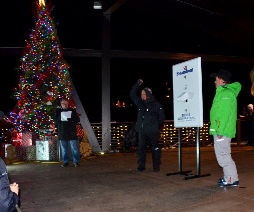 Officials prepare to flip the switch for night skiing at Steamboat.  - ©Photos courtesy Shannon Lukens.