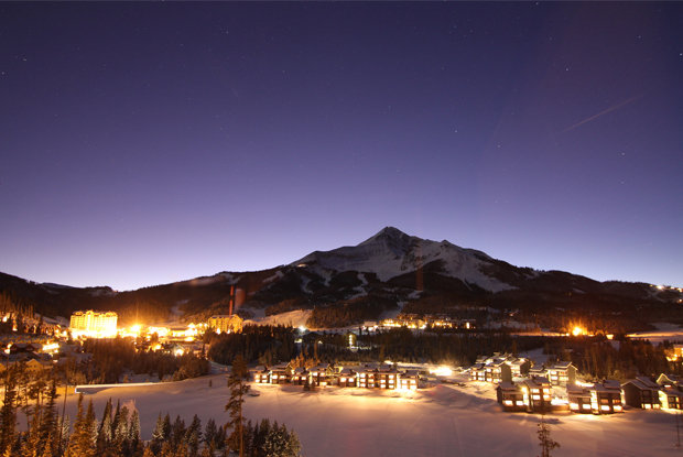 Big Sky's Mountain Village lights up at night.