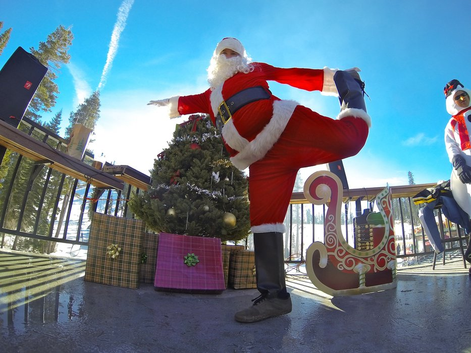 Santa get's a quick stretch in before hitting the slopes at Sierra-at-Tahoe Resort.