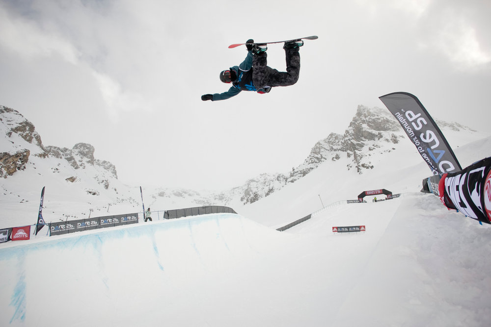 Snowboard halfpipe at The BRITS in Tignes, 2013