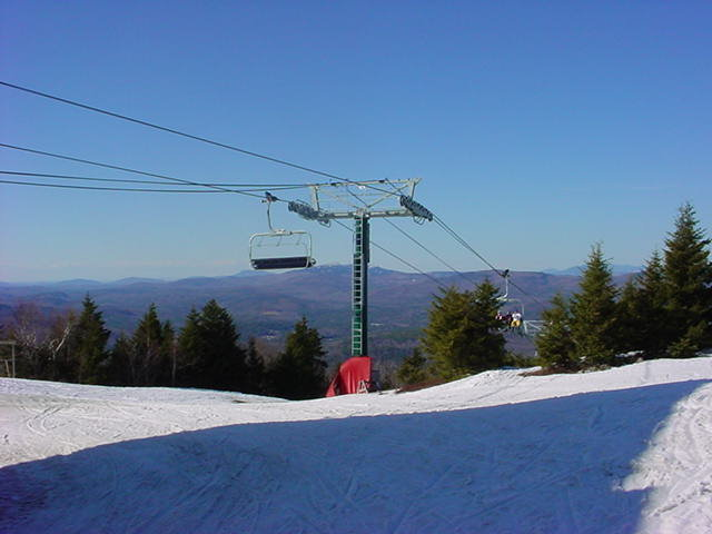 A 6-pack lift at Ragged Mountain, NH.