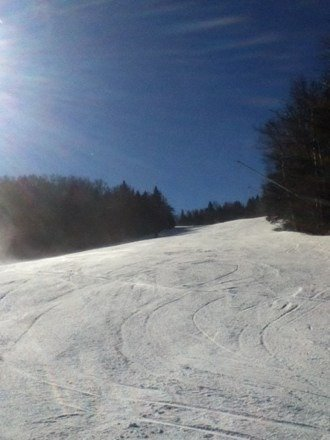 Cold but nice day at Killington.  They really did well given the minimal snow fall. Ice lurking below.