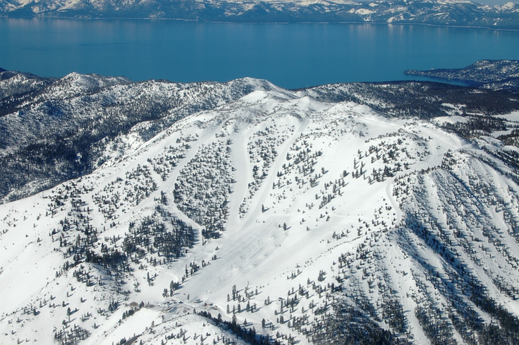 An aerial view of the Slide Bowl and lake at Mt. Rose, nevada