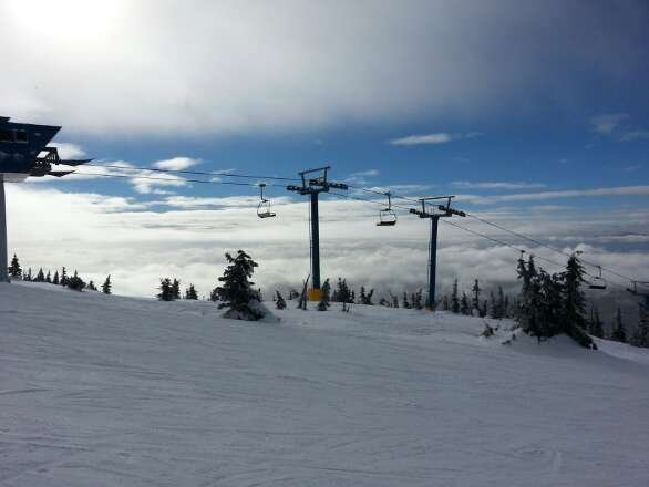 on Sunday,  flurries in morning and sunshine in afternoon.  We had a great day!