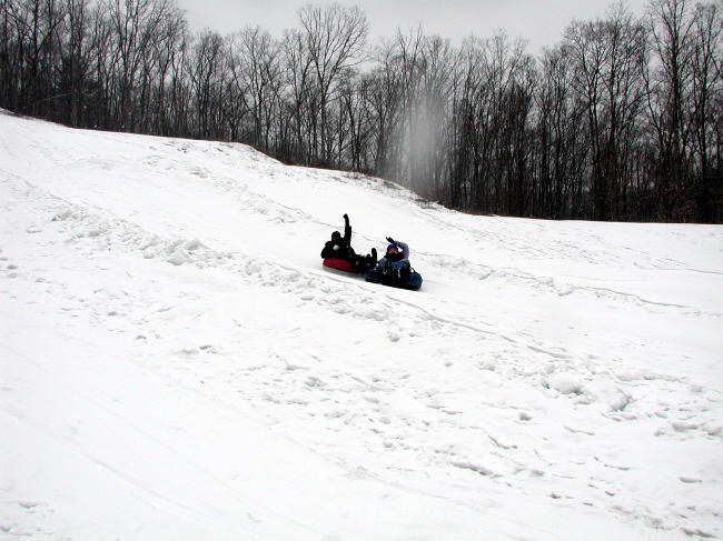 Tubing down the hil at Alpine Mountain, Pennsylvania