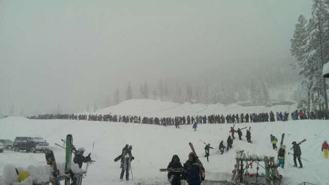 Waiting line Feb 12, 2013 8:30am.  Awesome day! Pow Pow