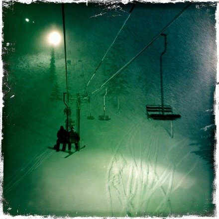 The upper bowl was awesome Tuesday night!  My guess is a foot of fresh powder.  Love night skiing at Ski Bowl