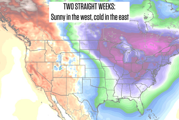 Average temperatures from January 22nd to January 29th show that the east is the place to be if you're looking for cold air and snow.