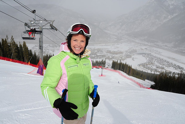 Here is Picabo Street in 2011, training downhill at Copper Mtn's speed center.