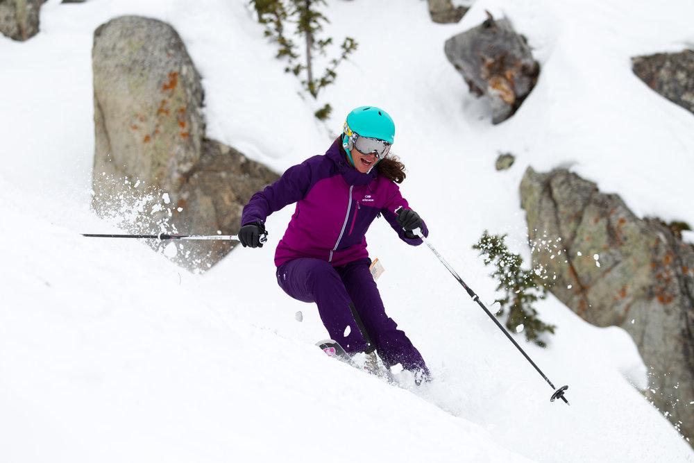 Sharelle Rodman finding fun on the frontside, Ski Test day 1. - ©Cody Downard Photography