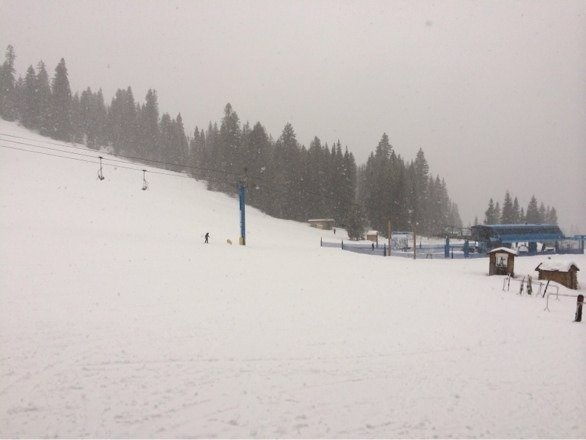 Snowing heavily with packed powder and colder conditions. Low visibility but softer than yesterday in this area.
