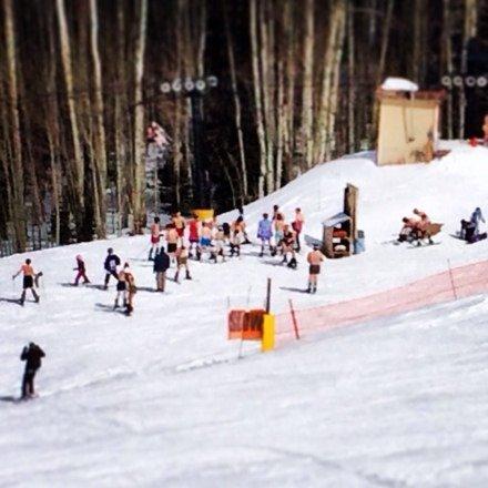 Spring break skiing in your skivvies. Thunder snow, snow , sun & fun!!