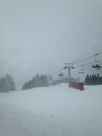 Lots of powder. Windy and chilly at the top but amazing conditions! So much snow for the east!