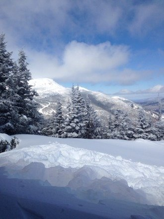 Beautiful day! Tons of powder. It's not exactly warm spring skiing, but it's great skiing!